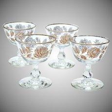 Set of 4 Vintage Libbey Gold Rose Bouquet Champagne / Sherbet Glasses