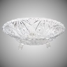 Anchor Hocking Thousand Lines aka Stars & Bars Footed Fruit Dessert Serving Bowl