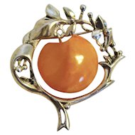 Handcrafted Russian Amber Brooch Pin