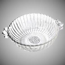 Vintage Depression Pressed Glass Bowl w/ Handles Circa 1930s