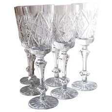 6 Crystal White Wine Glasses/ Champagne Stems Gus Khrustalny Russian Lead Crystal