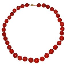 "Mid-Century Handcrafted Cinnabar Bead 28"" Necklace"