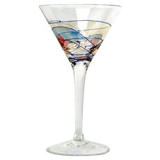 2 Handcrafted Lead Free Crystal Martini Cocktail Glasses Milano 24K Gold Stained Glass