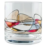 8 Handcrafted Crystal Double Old Fashioned Whiskey Glasses Milano Noir Stained Glass
