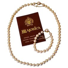 Majorica Simulated Pearl Necklace and Bracelet Set 8 ½ mm