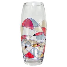 Handcrafted Hand Painted Crystal Vase w/ 24K Gold Milano Pattern 10 1/2 inches
