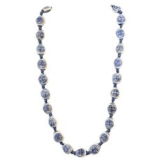 "Mid-Century Handcrafted Chinese Blue on White Porcelain Beads 22"" Necklace"