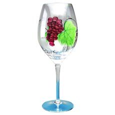 4 Pinot Noir Wine Glasses Handcrafted Hand Painted Lead-free Crystal Dionysus Pattern