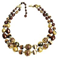1970s Double Stranded Beaded Adjustable Choker Necklace 15 inches to 17 inches
