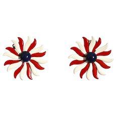Vintage Red White Blue Flower Earrings Clip Backs