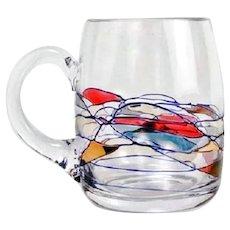12 Milano Beer Glasses Mugs Romanian Lead-free Crystal w/ 24K Gold