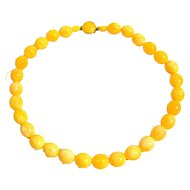 Mid Century Hong Kong Lemon Drop Beads 22 inch Necklace