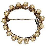 Vintage Faux Pearl Circle PIn Brooch