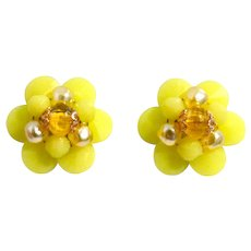 Mid Century Western Germany Cluster Lemon Yellow Beads Clip Back Non-Pierced Earrings