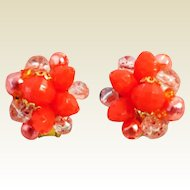 Mid Century Western Germany Coral Cluster Beads Clip Back Non-Pierced Earrings