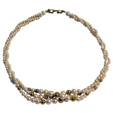 Vintage Napier Faux Pearl Triple Strand Twisted 19 inches Necklace 1980s