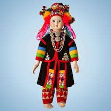 14 inch Hmong Hill Tribe Doll of Thailand