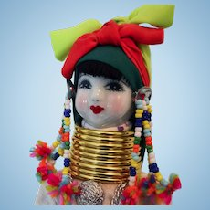 Karen Hill Tribe Doll of Thailand 10""