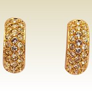 Swarovski Crystal ½ Hoop Earrings for Pierced Ears