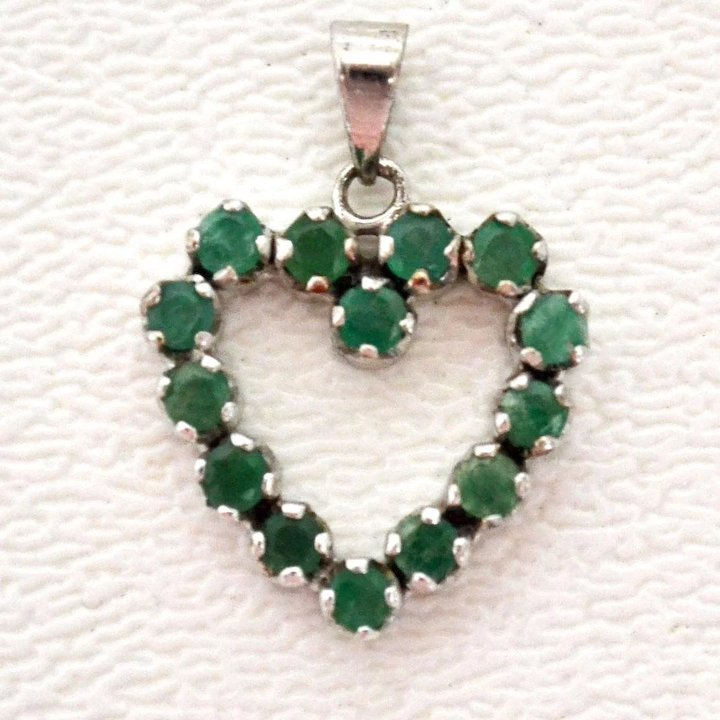 Emerald heart pendant yesterdays treasures ruby lane emerald heart pendant aloadofball Images