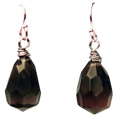 925 Silver Faux Topaz Teardrop Dangle Earrings for Pierced Ears