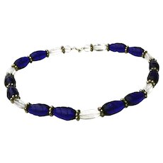 Vintage Bead Necklace Cobalt Blue & Clear 16 1/3 inches Mid Century Modern