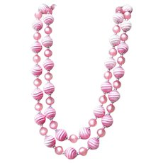 Double Stranded Cotton Candy Pink Beads Necklace 18 inch - 19 1/2 inch
