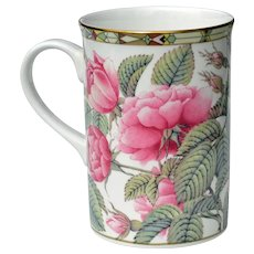 Fine China Cup Mug Pink Roses from Thailand 1990s