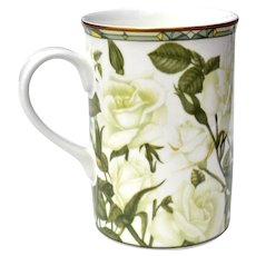 Fine China Cup Mug White Roses from Thailand 1990s