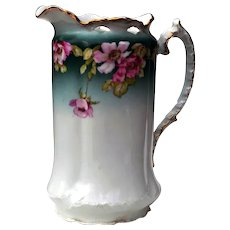 Antique German Earthenware Floral Pitcher Circa 1900s