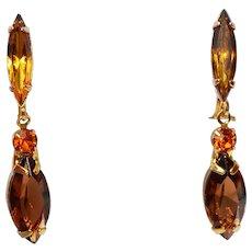 Faux Topaz & Citrine Rhinestone Dangle Clip-on Earrings 1920s