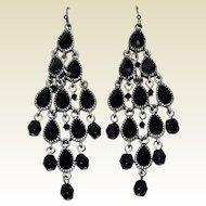 Black Chandelier Cascading Drop Earrings