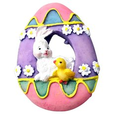 American Greetings Pin Easter Egg with Bunny & Chick Circa Early 1990s