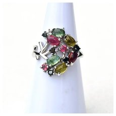 Multi-Color Tourmaline Ring w/ Black Spinel 14k White Gold Plate Size 5 3/4