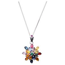 Multi Gemstone 14k WGP Pendant Necklace 18 inch Sterling Silver Chain