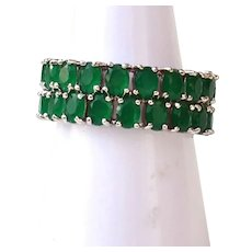 Simulated Emeralds Sterling Silver Double Layer Band Ring Size 7 3/4