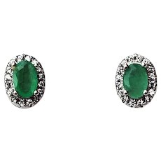 Natural Emerald Halo Earrings Studs Cubic Zirconias 14K White Gold Plate