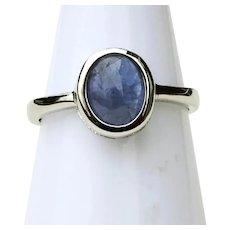 2 Carat Natural Lavender Blue Tanzanite Ring 14K White Gold Plate Size 8
