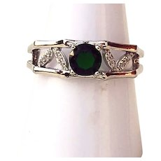 6mm Simulated Emerald Ring Sterling Silver Size 8 3/4