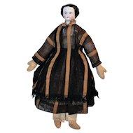 German China Head & Shoulders Doll w/ Cloth Body 11 1/2 inches Circa 1870