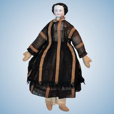 German China Head & Shoulders Doll w/ Cloth Body 11 1/2 inches Circa 1870