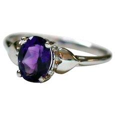 1 ½ Carat Royal Purple Amethyst Sterling Silver Ring Size 7 ½