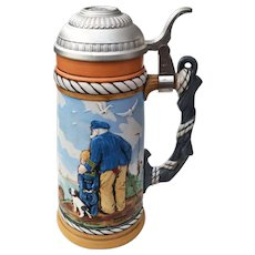 "Norman Rockwell Seaside ""Looking Out To Sea"" Limited Edition Lidded Nautical Stein"