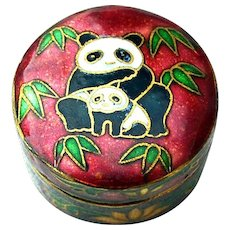 Old Cloisonne Panda Bear Hinged Pill Box