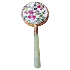 Oriental Hand Painted Porcelain Hand Mirror