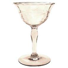 Etched Smoky Liqueur Cordial Apertif Glass