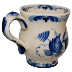 Gzhel Blue & White Russian Porcelain Coffee Cup Mug Style