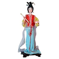 Traditional Chinese Art Silk Figurine Doll 11""
