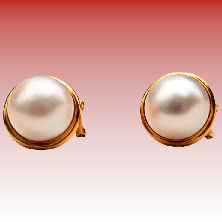 Pearl Earrings 13mm Mabe Pearls 18k Gold Setting Holiday Special
