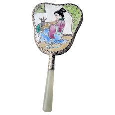 Chinese Handcrafted Porcelain Hand Held Mirror